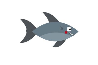 Cartoon shark. Vector illustration