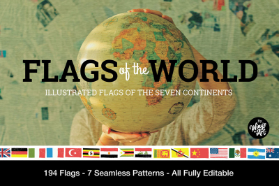 Flags of the Seven Continents - Vector Illustrations