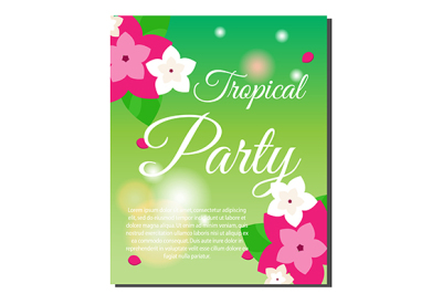 Tropic banner with flowers