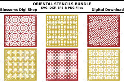 Oriental Patterns Stencil Bundle, SVG, DXF, EPS and PNG files
