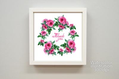 Watercolor roses greeting card