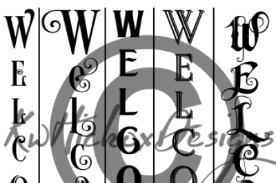 Vertical Welcome Sign Bundle Svg, Eps, Dxf File