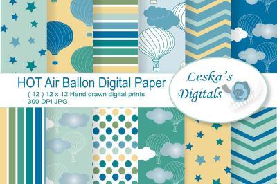 Hot Air Balloon Digital Paper