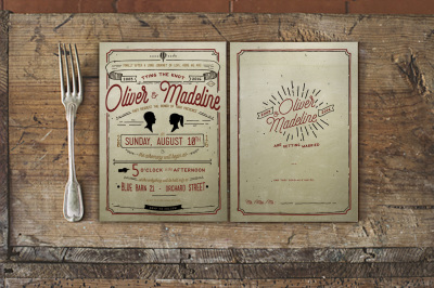 Vintage Hand Lettering Wedding Invitation