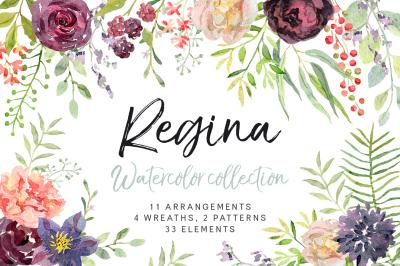 Regina watercolor floral collection