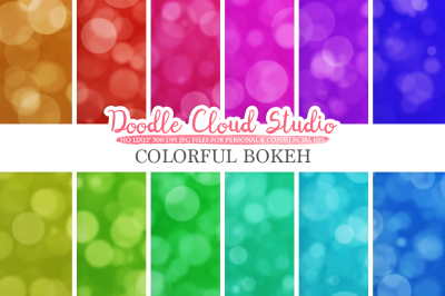 Bokeh digital paper&2C; Colorful Bokeh Overlay&2C; Rainbow Bokeh backgrounds&2C; Instant Download&2C; for Personal & Commercial Use
