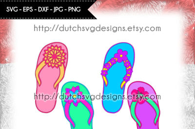 Flip flop cutting file with 4 different flower decorations, in Jpg Png SVG EPS DXF, for Cricut & Silhouette, flipflop svg, flip flop svg, sandals svg, thong svg