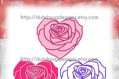 Cutting file rose in heart shape (3 files), in Jpg Png SVG EPS DXF, for Cricut & Silhouette, rose svg, heart svg, svg cutting file, svg file