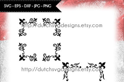 2 Corner border cutting files with french lily, in Jpg Png SVG EPS DXF, Cricut svg, Silhouette cut file, fleur de lis svg, corner border svg