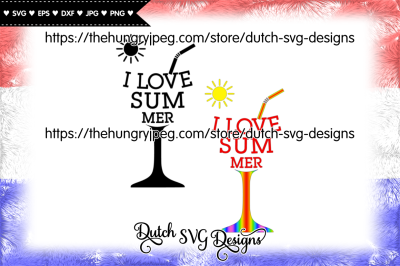Cut file I Love Summer, summer svg, sun svg, glass svg, beach svg