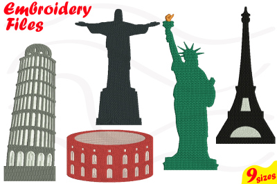 World Landmarks Designs for Embroidery Machine Instant Download Commercial Use digital file 4x4 5x7 hoop icon symbol sign City Buildings 47b