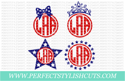 Patriotic Monogram Set - SVG, EPS, DXF, PNG Files For Cutting Machines