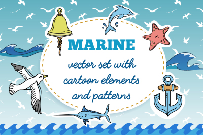 Vector set of nautical hand-drawn cartoon elements