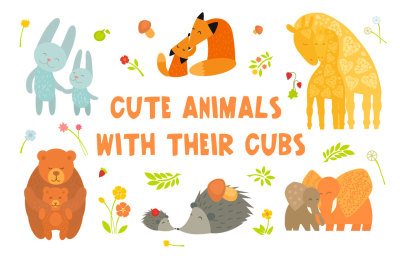 Mother's Day Cards. Vector Animals