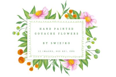 Digital Flowers - gouache painted