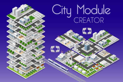 City bundle module creator  vector isometric