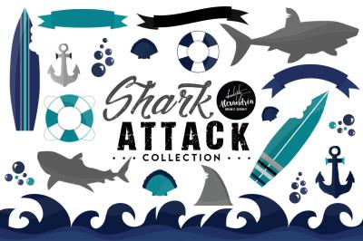 Shark Attack Graphics &  Patterns Bundle