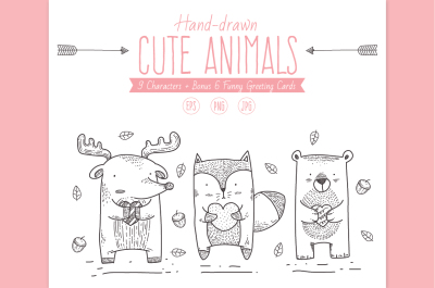 Handdrawn Cute Animals