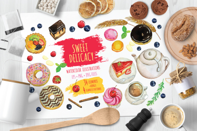 Sweet Delicacy Watercolor Illustrations