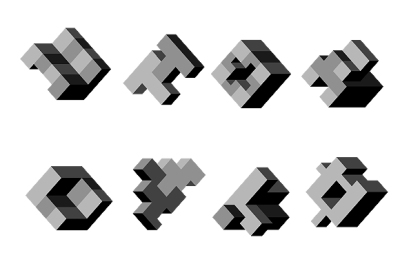 Abstract 3D geometric vector shapes