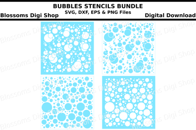 Bubbles stencils bundle SVG, DXF, EPS and PNG files