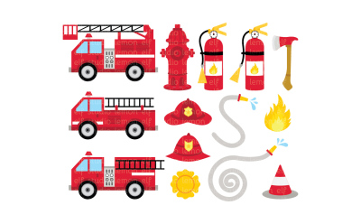Fire Truck-Digital Clipart (LES.CL50)