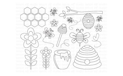 Sweet Honey Bees-Digital Stamp (LES.DS54)