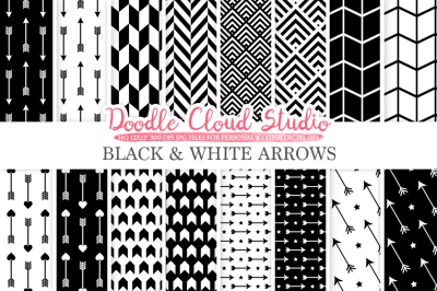Black and White Arrows digital paper, Arrow patterns, tribal, archery, chevron triangles backgrounds for Personal & Commercial Use