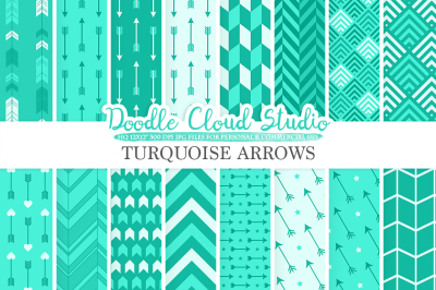 Aqua Arrows digital paper, Turquoise Arrow patterns tribal archery chevron triangles backgrounds, Instant Download Personal & Commercial Use