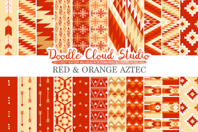 Red and Orange Aztec digital paper ,Tribal patterns native triangles geometric ethnic arrows Gold background for Personal & Commercial Use