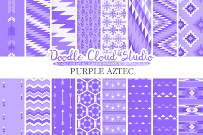 Purple Aztec digital paper, Tribal patterns native triangles geometric ethnic arrows background, Instant Download, Personal & Commercial Use