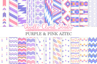 Purple and Pink Aztec digital paper Orange Tribal patterns native triangles geometric ethnic arrows backgrounds Personal & Commercial Use
