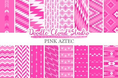 Hot Pink Aztec digital paper Tribal patterns native  triangles geometric ethnic arrows background Instant Download for Personal & Commercial Use