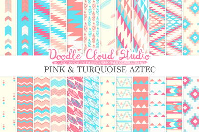 Pink and Turquoise Aztec digital paper Tribal patterns native triangles geometric ethnic arrows blue backgrounds, Personal & Commercial Use