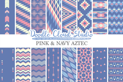 Pink and Navy Aztec digital paper Tribal patterns native triangles geometric ethnic arrows Purple Blue background Personal & Commercial Use