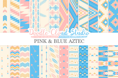 Pink and Blue Aztec digital paper ,Tribal patterns native triangles geometric ethnic arrows Azure backgrounds for Personal & Commercial Use