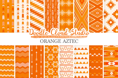 Orange Aztec digital paper Tribal patterns native triangles geometric ethnic arrows background, Instant Download, Personal & Commercial Use