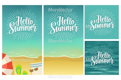 Hello summer hand drawn lettering with rays on tropical beach background.