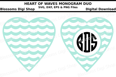 Wave hearts monogram duo, SVG, DXF, EPS and PNG files
