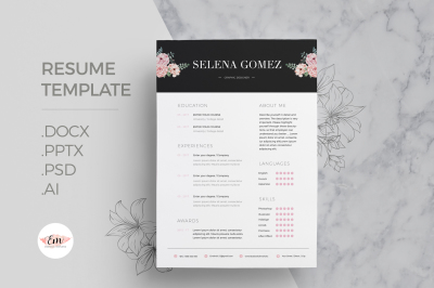 Floral 1 page Resume