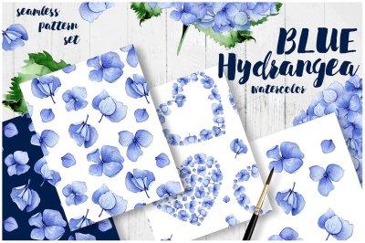 Seamless hydrangea set