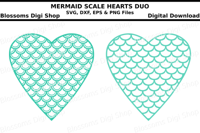 Mermaid scale hearts duo SVG, DXF, EPS and PNG files