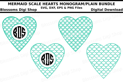 Mermaid scale heart monogram and plain bundle SVG, DXF, EPS & PNG files