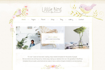 Little Bird Shop Blog Design PSD