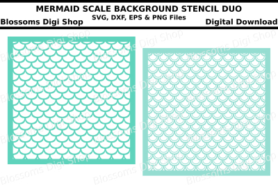 Mermaid scale background stencil duo SVG, DXF, EPS and PNG files