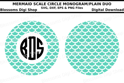 Mermaid scale monogram circle duo SVG, DXF, EPS and PNG files