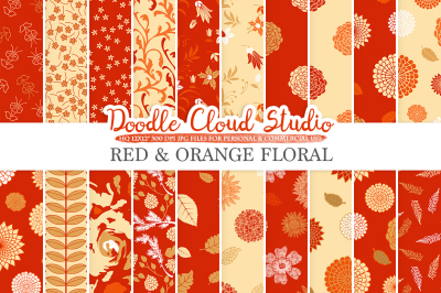 Red and Orange Floral digital paper, Red and Gold Floral patterns, Flowers Dhalia Leaves Damask Calico backgrounds Personal & Commercial Use