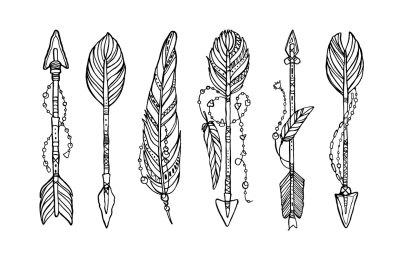 Vector ethnic arrows with feathers