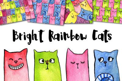 Watercolor Bright Rainbow Cats
