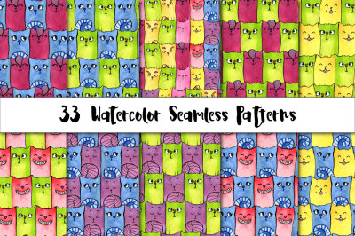 Watercolor Patterns. Rainbow Cats by Valentina Gurina in Graphics  Patterns